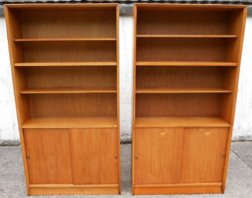Pair 1960's Retro Teak Tall Open Bookcases by Herbert E Gibbs